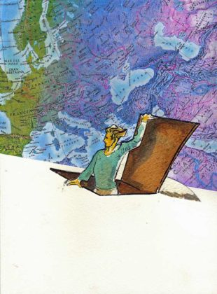 """Un bambino"" tav.9, graphic novel di Mauro Carac, acrilico, tempera, collage su carta, 22x33, 2010"