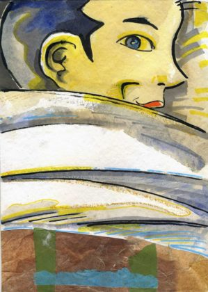 """Un bambino"", tavola 1 graphic novel di Mauro Carac: tempera, acquarello su carta, cm 22x32, 2012"